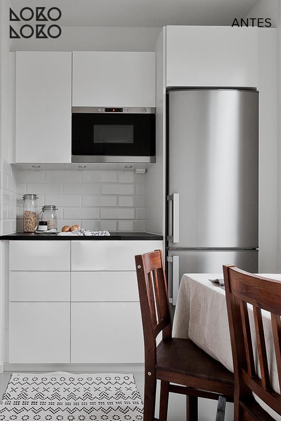 Antes y después: Renovar cocinas blancas con vinilos de imitación ...