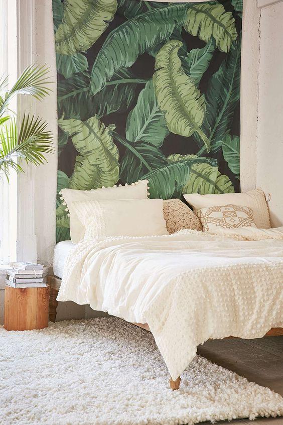 pared-de-dormitorio-decorada-estilo-jungalow-o-jungla-interior