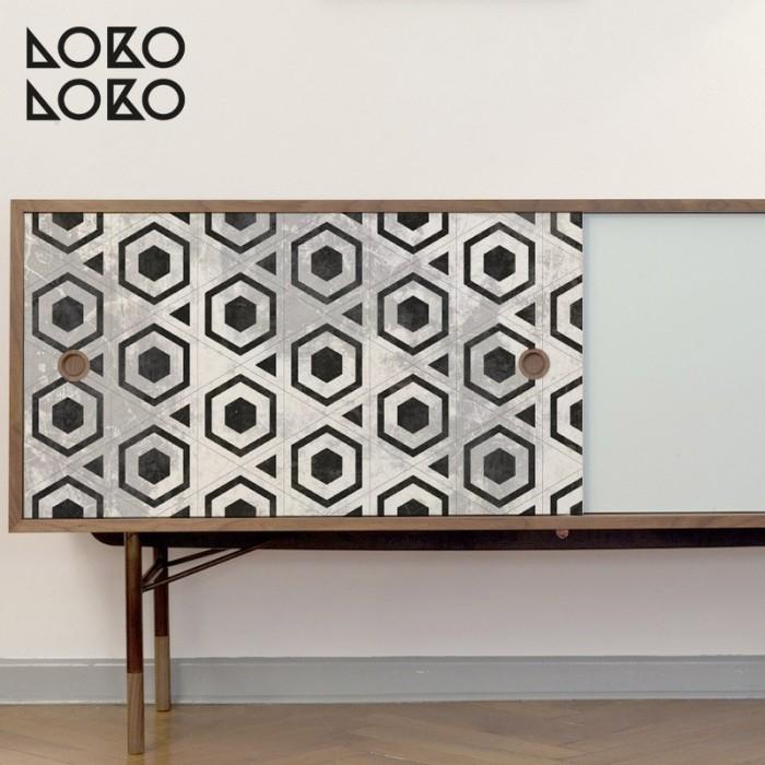 patron-hexagonos-negros-ceramica-texturas