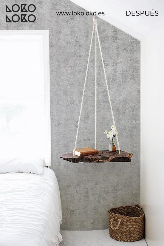 dormitorio-apartamento-forrar-cabecero-con-papel-de-pared-cemento-industrial-nordico-lokoloko