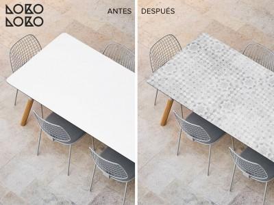 Antes y después: cambia con vinilos la mesa de terraza