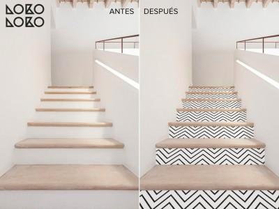 Antes y después: Decora el frente de las escaleras con vinilo para suelo
