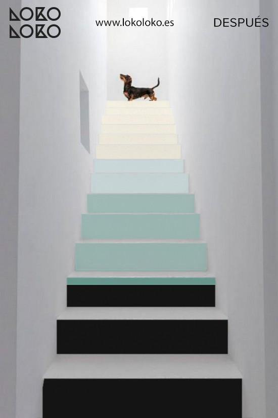 decorar-escaleras-de-casa-blancas-con-vinilo-color-block-lokoloko