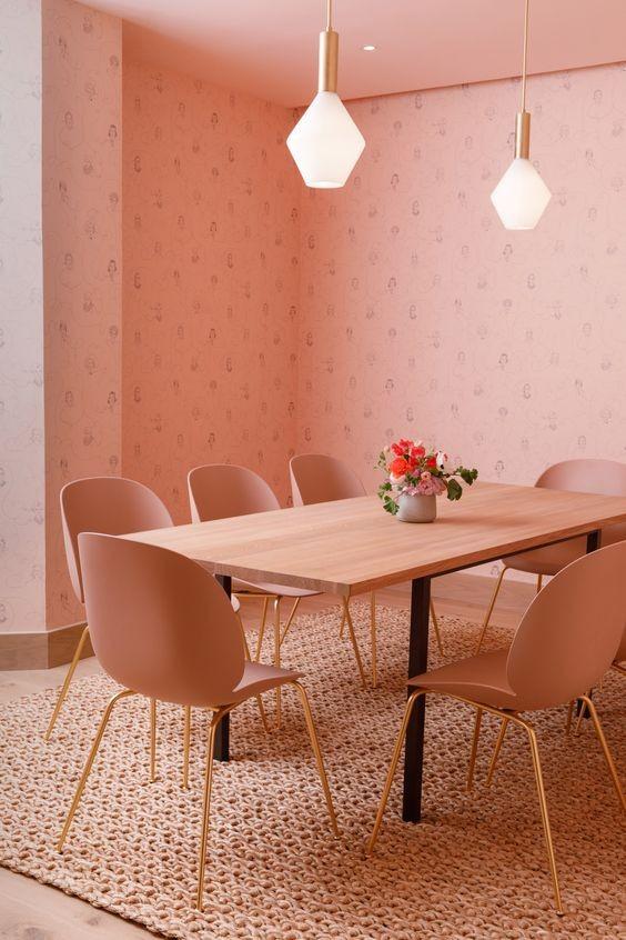 comedor-rosa-estilo-monocromo-decoracion-de-interiores
