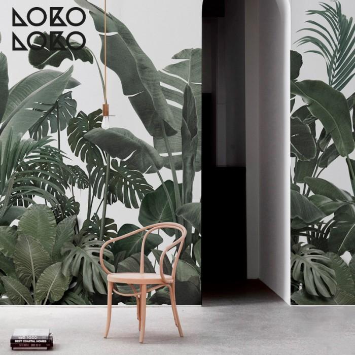 papel-adhesivo-jardin-botanico-verde-gris-palmeras-plataneras-monsteras-decoracion-tropical-lokoloko