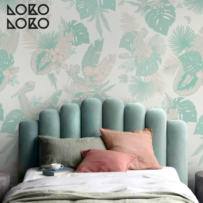 papel-de-pared-eco-miami-birds-mural-para-dormitorios-pajaros-palmeras-menta-rosas-lokoloko