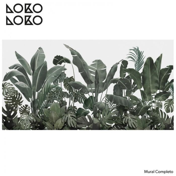 papel-de-pared-ecologico-adhesivo-jardin-botanico-verdes-gris-palmeras-plataneras-monsteras-tropical-lokoloko