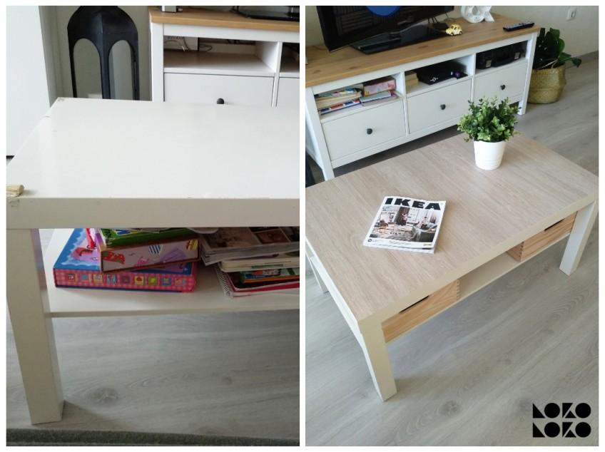 Antes-y-despues-pegando-vinilo-imitacion-textura-de-madera-para-forrar-mesa-de-centro-lack-de-ikea-hack-lokoloko