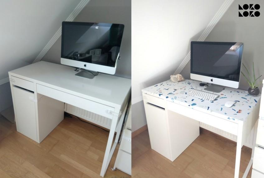 Cambia-con-vinilo-lavable-terrazo-frio-mesa-de-escritorio-micke-ikea-hack-lokoloko