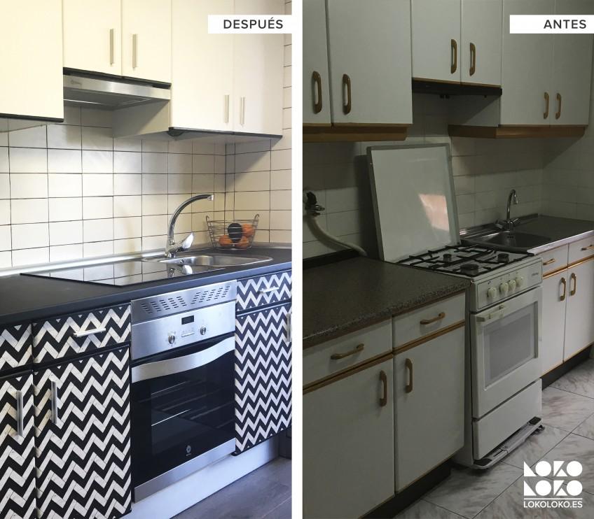 Antes-y-despues-renovacion-de-cocina-con-vinilo-lavable-blanco-y-geometrico-para-muebles-lokoloko