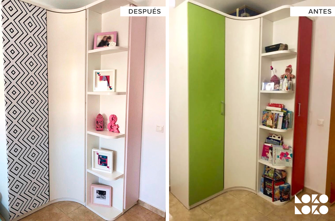 Antes-y-despues-forrando-las-puertas-de-armario-infantil-con-vinilo-opaco-de-patron-geometrico-y-color-liso-rosa-lokoloko