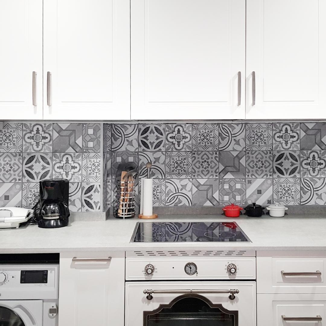 Vinilo para muebles y paredes de impresión de baldosas hidráulicas de cerámica gris