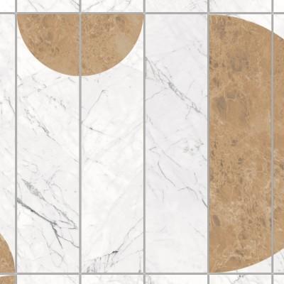 Azulejos verticales Art Decó Mármol - vinilo lavable autoadhesivo opaco muebles, paredes y suelos. Detalle