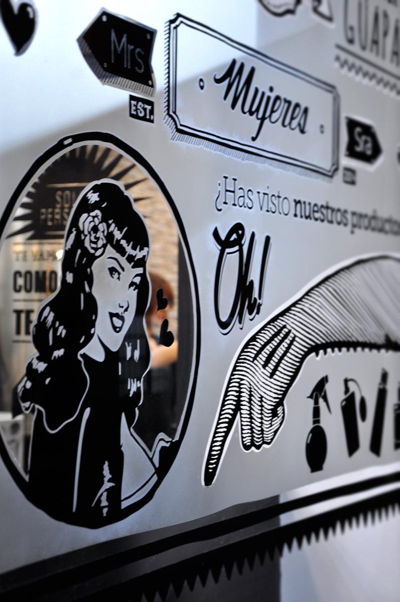 Lokoloko vinilos personalizados. creación de diseños en vinilo para la nueva imagen corporativa de una peluqueria. rotulación de escaparates e interiores