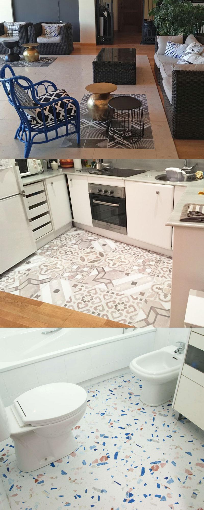 Vinilos autoadhesivos para suelos de dormitorios, baños, cocinas
