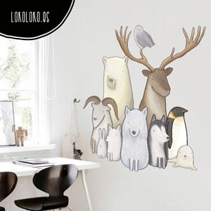 Vinilo adhesivo de ilustración de animales para tu pared