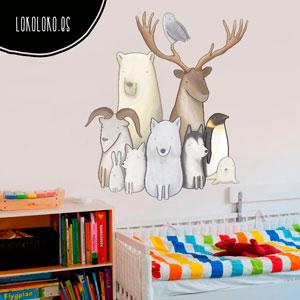 Vinilo decorativo infantil de animales blancos con estilo cartoon