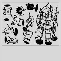 Figuras del pack de vinilo de teclas animadas de ordenador