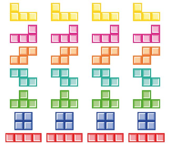 4 copias piezas de tetris