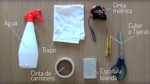 Materiales necesarios para la colocación del vinilo
